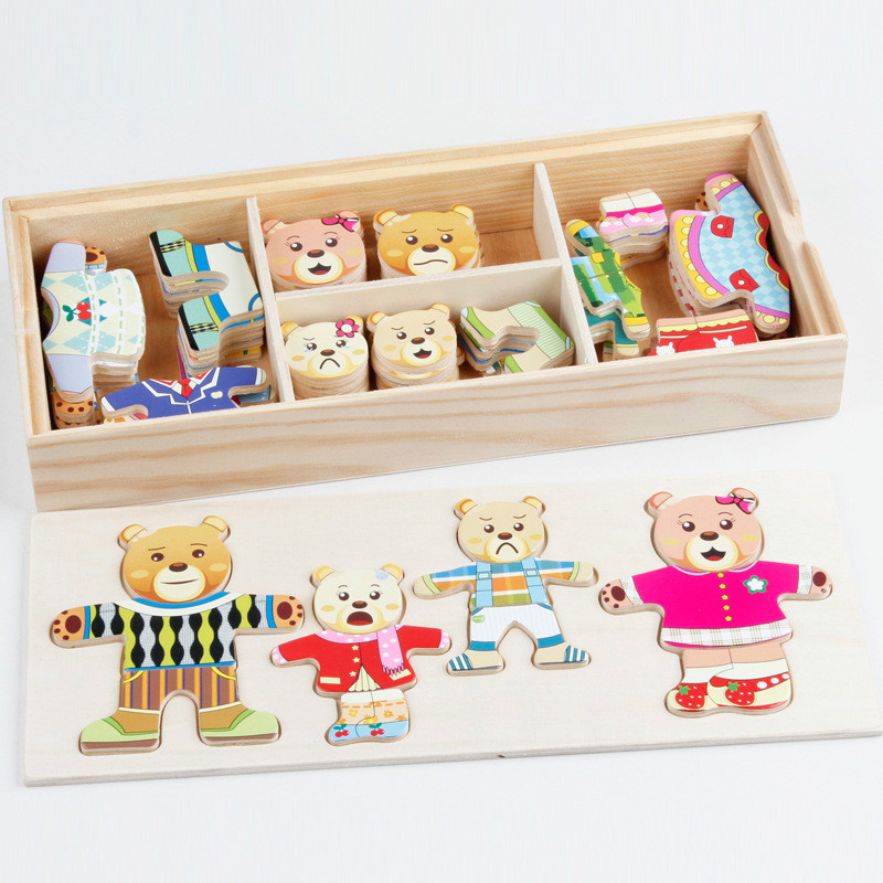 72pcs Cartoon 4 Rabbit Bear Dress Changing Jigsaw Puzzle Wooden Toy Montessori Educational Change Clothes Toys For Kids Gift