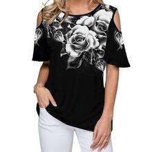 T-shirt Sexy pour femmes, épaules dénudées, imprimé Floral, hauts, grande taille 5XL, été, 2020