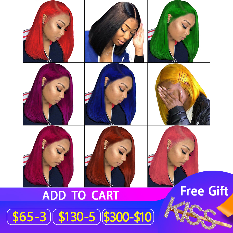 13x6 Lace Front Human Hair Wigs Straight Bob Transparent Lace Wig Pink Red Orange Yellow Short Human Hair Wigs Brazilian Remy