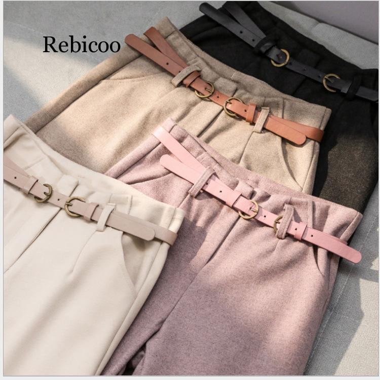 Women Clothes Woolen Harem Pants Female Autumn And Winter Loose Korean High Waist Thin Nine Points Feet Flower Radish Pants
