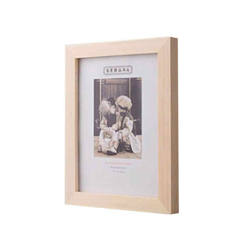 Photo Frame Natural Wood Frame Nordic Simple DIY Display Picture Photo Frames Poster Frame Choice of 3Colours 6 inch Home Decor