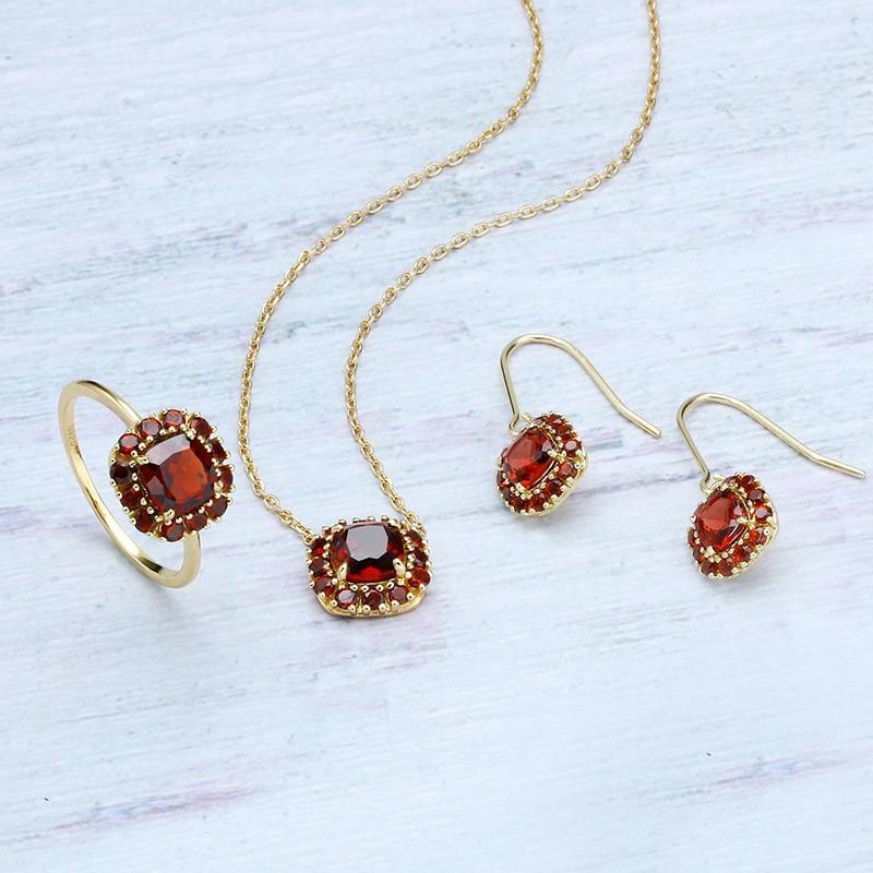 Naturel rouge pierre ensemble de bijoux or S925 argent Vintage carré cristal fleur Cluster crochet boucle d'oreille Boho anneau collier pendentif ensemble