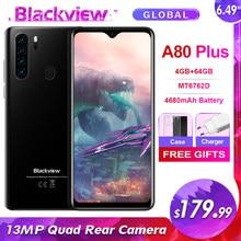 Blackview a80 plus 6.49 131313mp quad câmera 4g smartphone 4gb + 64gb android 10.0 4680mah nfc global lte faixas do telefone móvel
