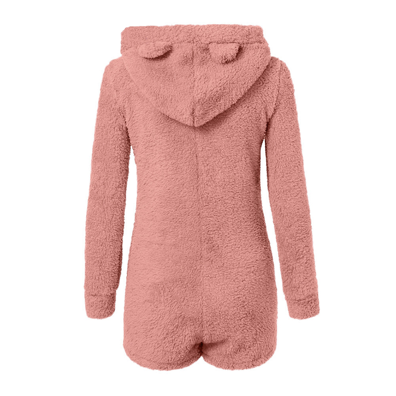 5XL Women Jumpsuits Fleece Pajama Bear Ear Hooded Bodysuit Shorts Winter Warm Tracksuit Streetwear One-piece Sleepwear Plus Size 6