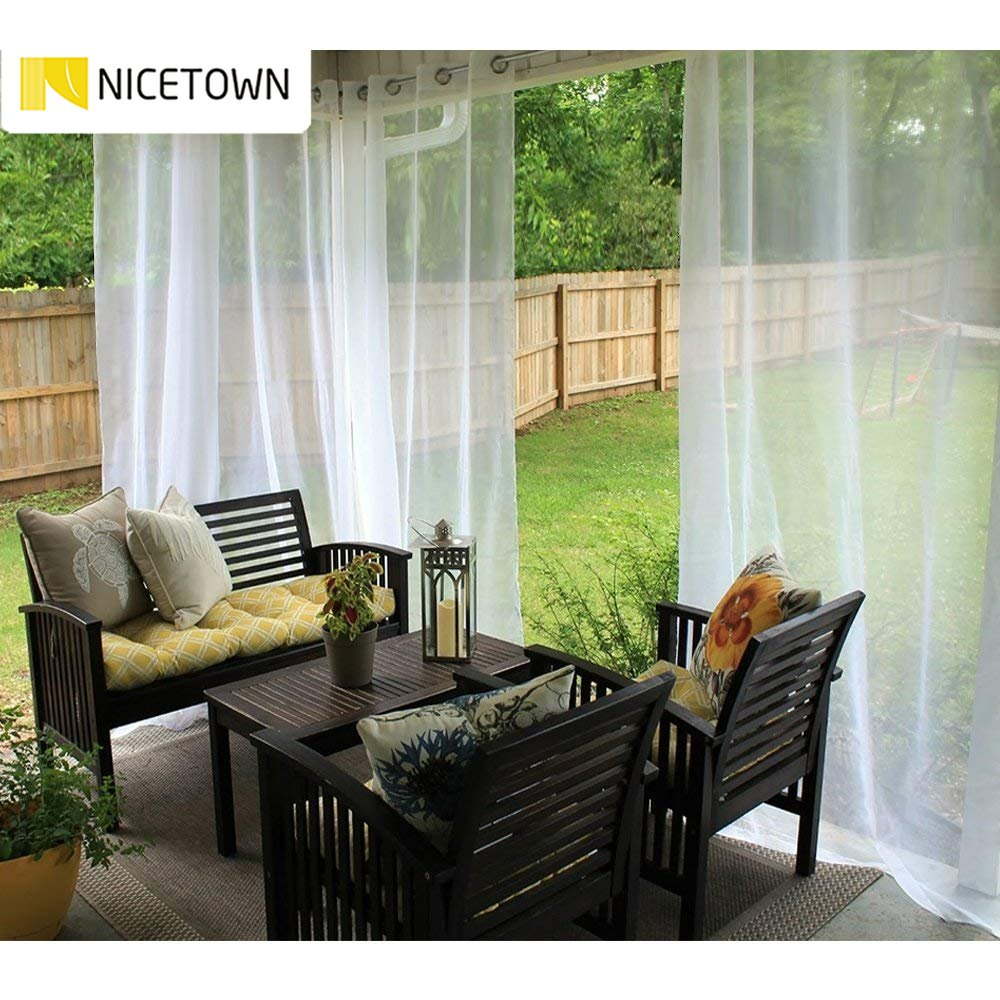 NICETOWN Single Panel Waterproof Garden Decoration Outdoor Sheer Curtains for Porch Exterior Voile With Sliver Ring Grommet