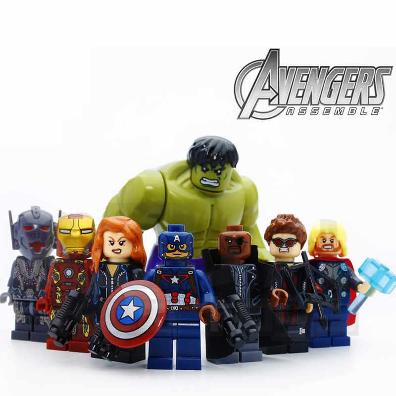 8 adet/grup Avengers Hulk Thor kaptan demir adam siyah dul Compatibie Lepining yapı taşları oyuncak seti DIY eğitici hediyeler