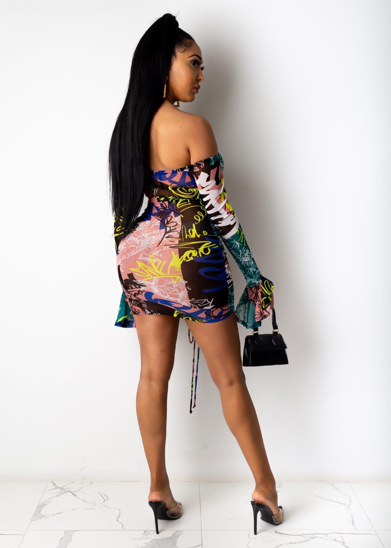 H113ca2dc2ec1426f94d994cd3f6f009b1 - Adogirl Snake Print Long Sleeve Dress Women Evening Party Night Dresses Sexy Off Shoulder Drawstring Bodycon Slim Mini Dress