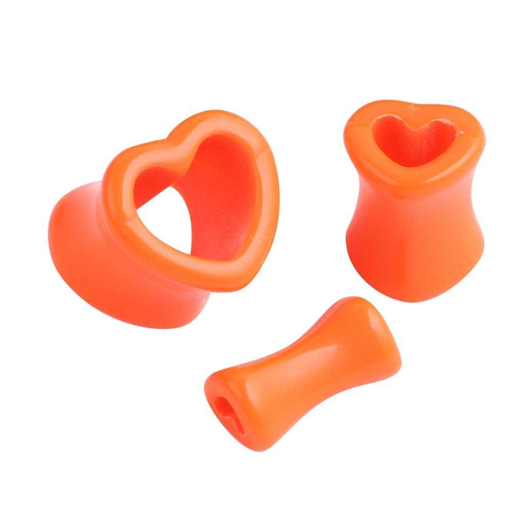 2 יח'\חבילה אקריליק אוזן ומנהרות לב צורת אוזן מודד בורג בשר מנהרת אופנה עגילים לנשים סקסי גוף תכשיטים