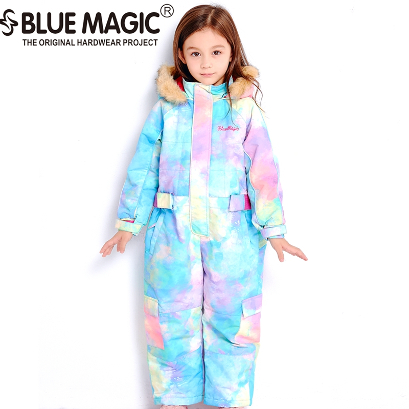 Bluemagic зимние лыжные костюмы для малышей, один предмет для детей, водонепроницаемый теплый комбинезон для девочек и мальчиков, Сноубордическая куртка, комбинезон-30 градусов - Цвет: aroura