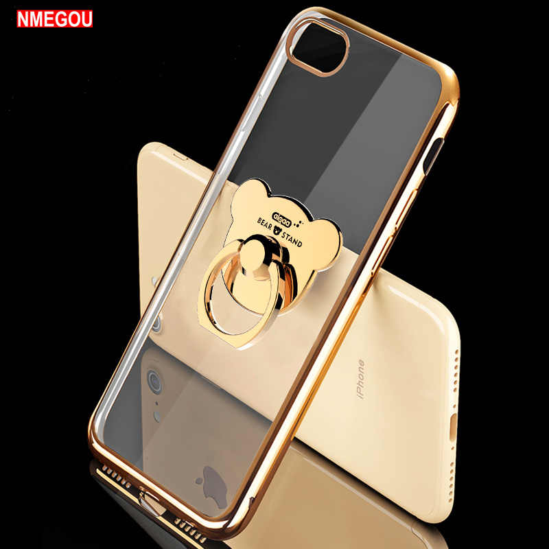 Cute Plating Soft Silicone Case for Iphone 11 Pro X XS MAX XR 8 7 Case with Bear Ring Holder for I Phone 6 S 6S Plus 5 5S Cover