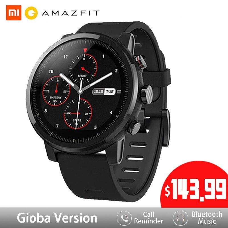 Huami amazfit 2 amazfit stratos ritmo 2 relógio inteligente homem com gps inteligente relógios ppg monitor de freqüência cardíaca 5atm à prova dwaterproof água