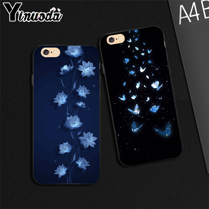 Yinuoda Black Background Lotus Butterfly Art High Quality Phone Case For Iphone 6s 6plus 7 7plus 8 8plus X Xs Max 5 5s Xr Half Wrapped Cases Aliexpress