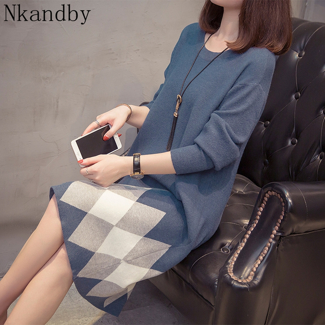 Plus Size Colorblock Knitted Dress 2019 Autumn Winter Clothes Korean Elegant Loose Long Sleeve Large Size Ladies Sweater Dresses