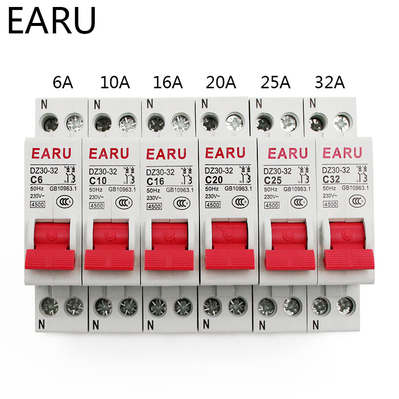 H113cc9df723f48819831737c59b245d4d - DZ30-32 DPN 1P+N Mini Circuit Breaker MCB 6A 10A 16A 20A 25A 32A Din Rail Mounting Cutout Miniature Household Air Switch OEM DIY
