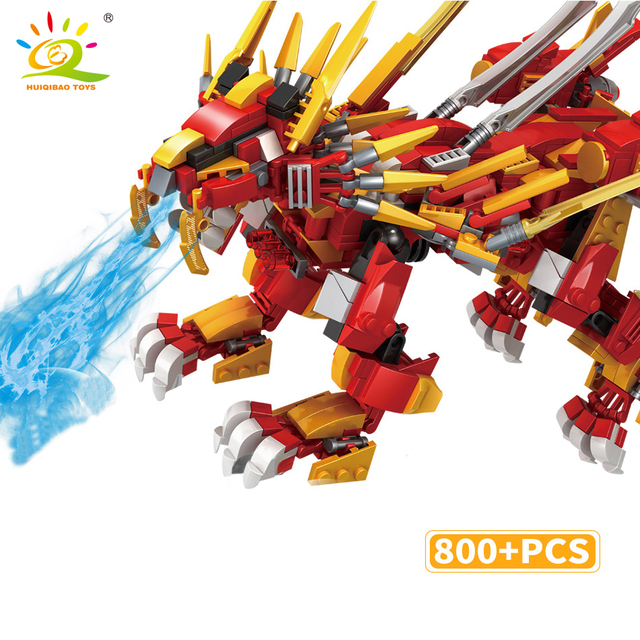 HUIQIBAO 800+pcs Red Ninja fire Lion model Building Blocks Kai Jay Figures Dragon Educational city Toys for children boy friend