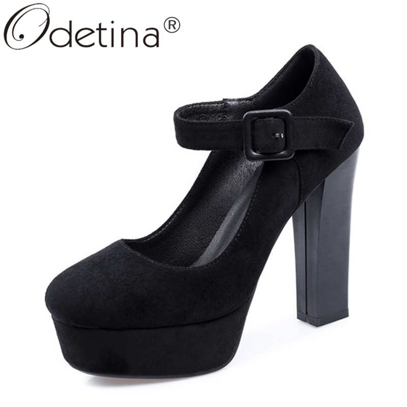 Odetina Women Fashion Block Extreme High Heel Wedding Pumps Round Toe Faux Suede Buckle Strap Glitter Platform Mary Janes Pumps