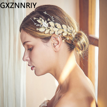 Заколки для волос с жемчужинами и листьями для женщин, свадебные аксессуары для невесты, вечерние украшения для волос золотого цвета, подар...