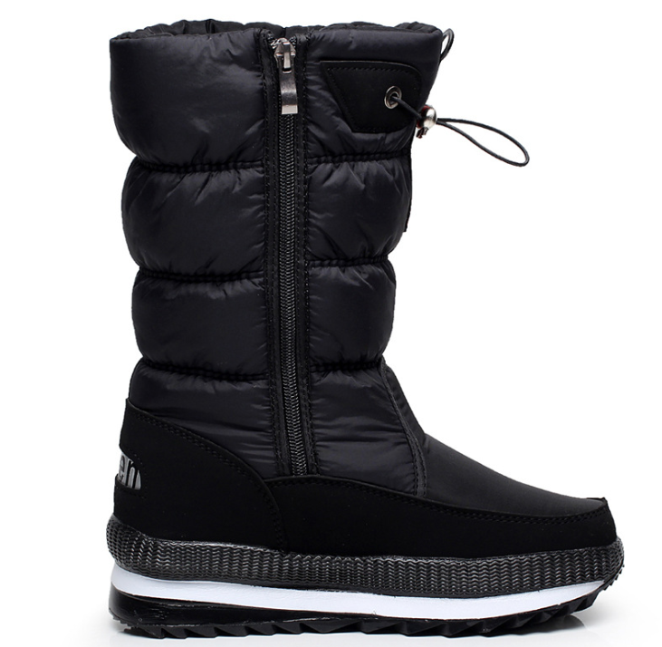 Snow Boots Women's Middle Tube Winter Thickening Waterproof Antiskid High Tube Plush Large Size