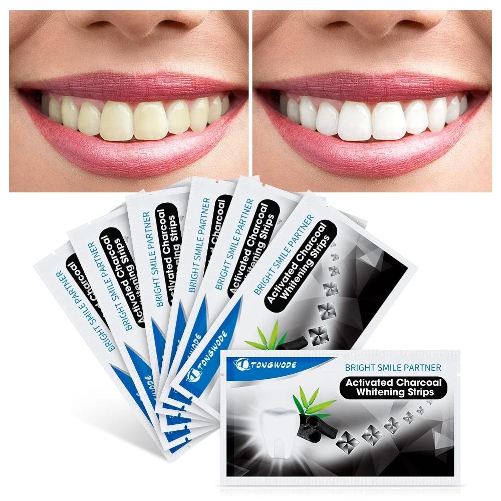 Полоски для отбеливания зубов с древесным углем, набор для отбеливания зубов, гигиена полости рта, полоски для накладных зубов, виниры, стом...