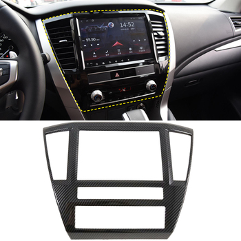 Fit for Mitsubishi Pajero Sport / Montero Sport 2020 Car Accessories ABS Carbon Console GPS Navigation Panel Cover Trim 1pcs image