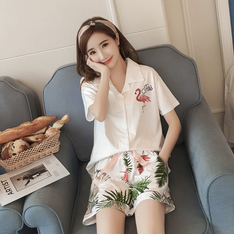 Short Sleeve Pajamas Summer Hot Selling WOMEN'S Short-sleeved Clothes Flamingo Set Tracksuit Japanese-style Cardigan Pajamas
