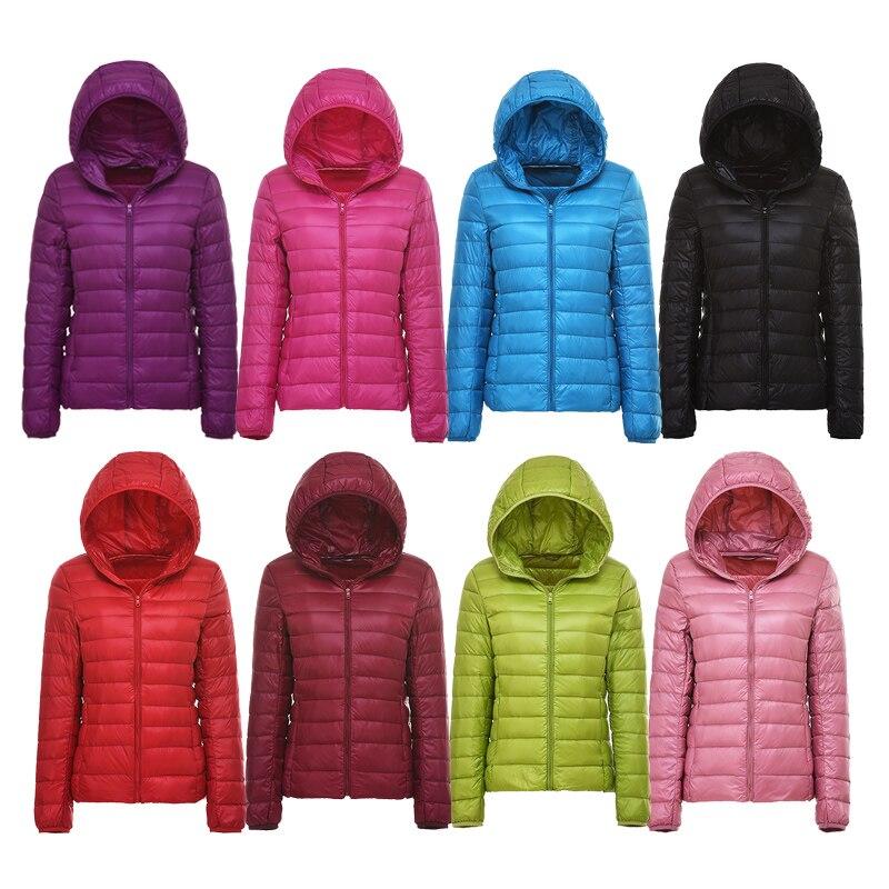Ultra-light Plus Size Thin Women Down Jacket  2019 Autumn Winter Slim Short Hooded Warm White Duck Down Jacket Women's Outerwear