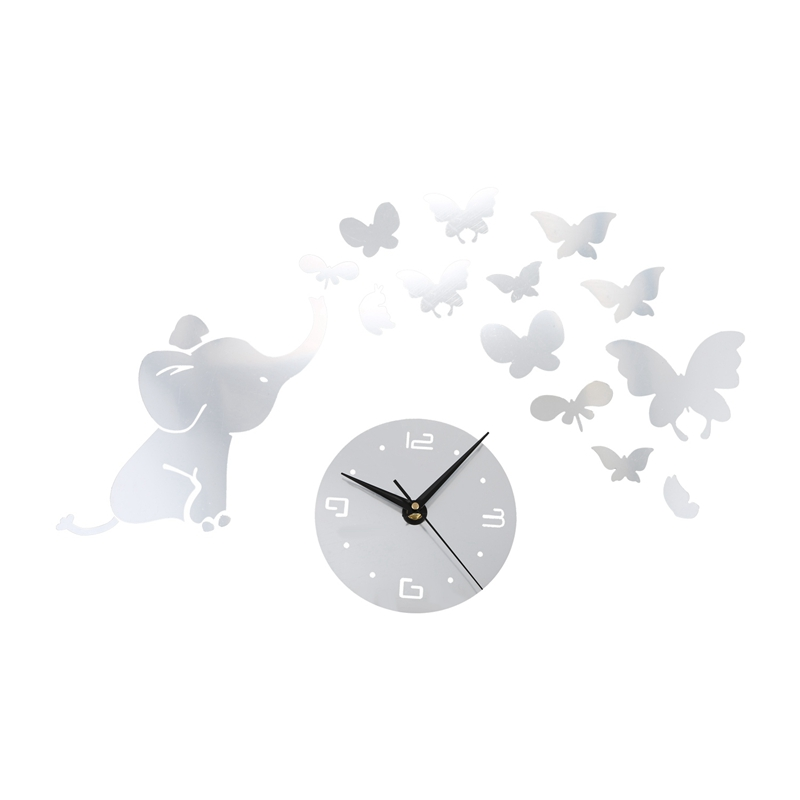 1 Pcs Silver 3D Wall Stickers Clock Butterfly Elephant Petals Pattern Sticker DIY Mirror Clock, For Home Kitchen Office Bedroom