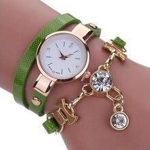 Casual Clock Quartz Charm PU Leather Fashion Crystal Rhinestone Ladies Bracelet Students Analog Exqu