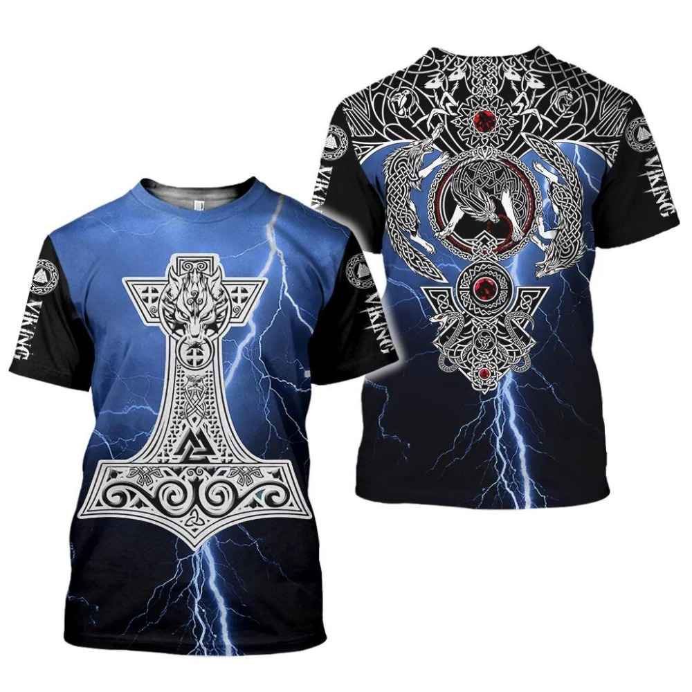 2020 New Fashion Men hoodies 3D Printed Viking Tattoo t shirt tees shorts sleeve Apparel Unisex Norse cosplay streetwear-10 2