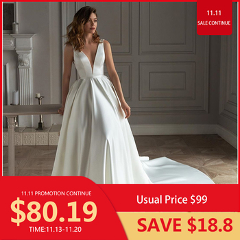 White Satin Wedding Dress A-line V-Neck Sleeveless Backless  Tank Chapel Train Bridal Gown High Quarlity Pleat Graceful