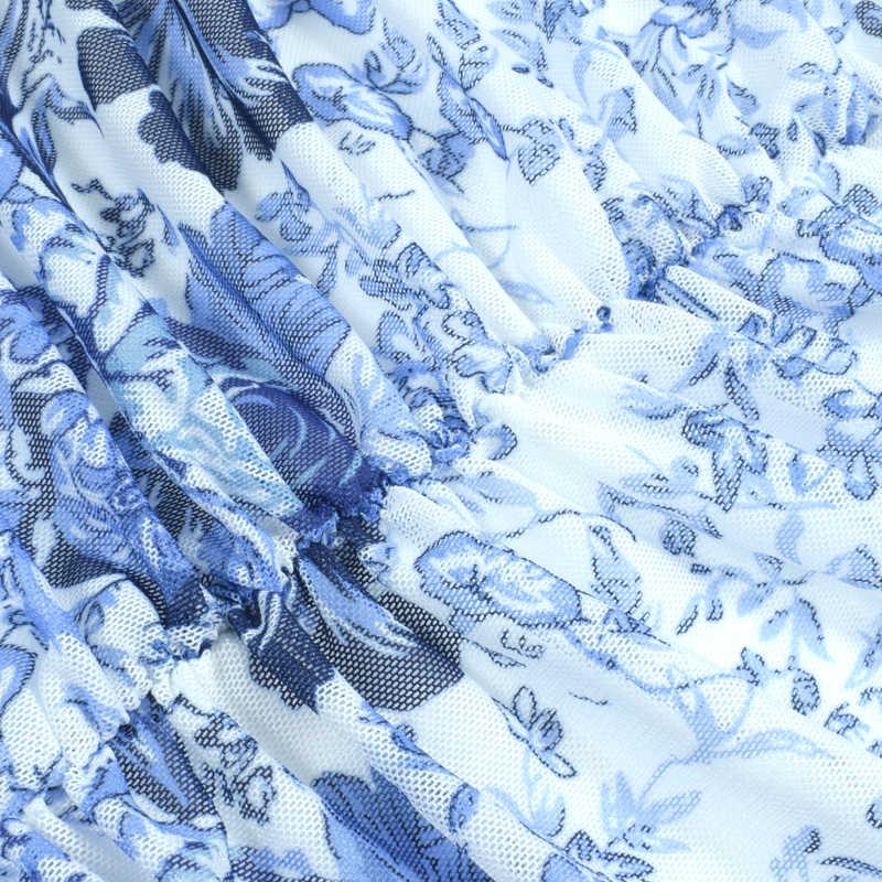 NewAsia Double couche ruché maille Robe été femmes Sexy Spaghetti bretelles moulante Robe de soirée élégant bleu blanc imprimer Robe 2019