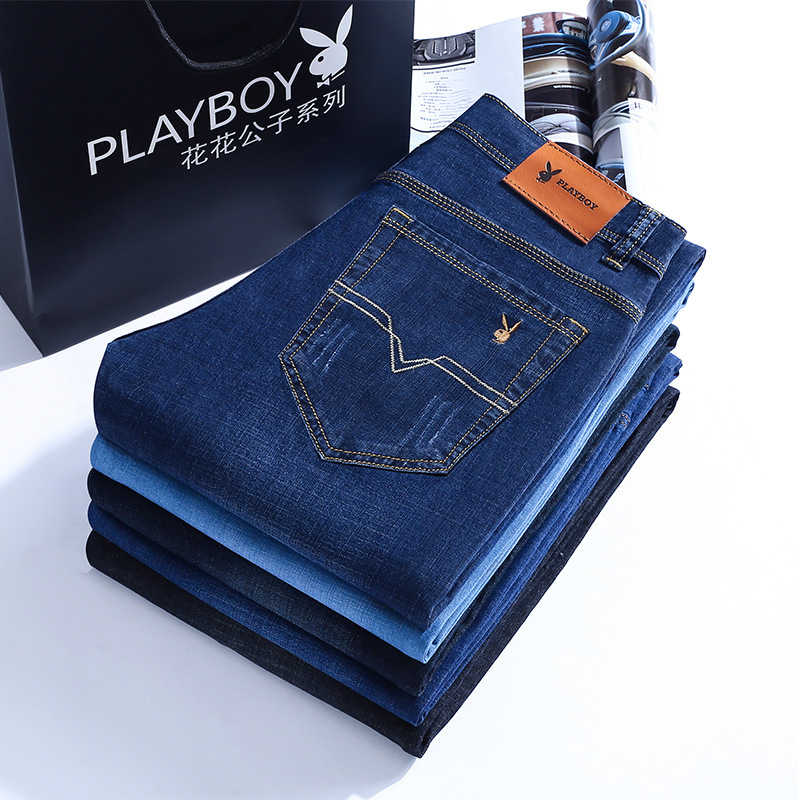 Playboy Vip Genuine Product Jeans Men Elasticity Straight Slim Youth Casual Large Size Business Long Pants
