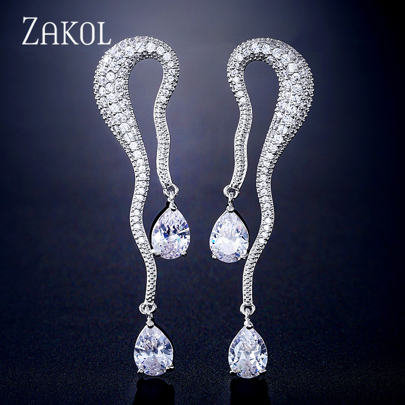 ZAKOL Favorite Elegant Water Drop Cubic Zirconia Women Engagement Party Bridal Wedding Earrings High Jewelry FSEP2314 in Drop Earrings from Jewelry Accessories