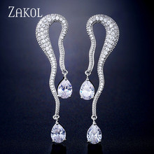 ZAKOL Favorite Elegant Water Drop Cubic Zirconia Women Engagement Party Bridal Wedding Earrings High Jewelry FSEP2314