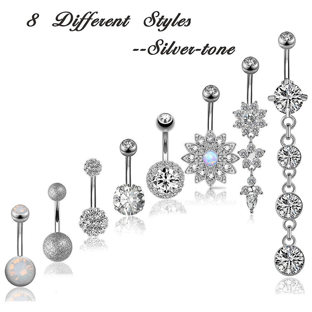 1pc Belly Button Rings 8 Styles Surgical Steel Navel Piercing Opal Dangled 14g Woman Body Jewelry Barbell Drop Ombligo