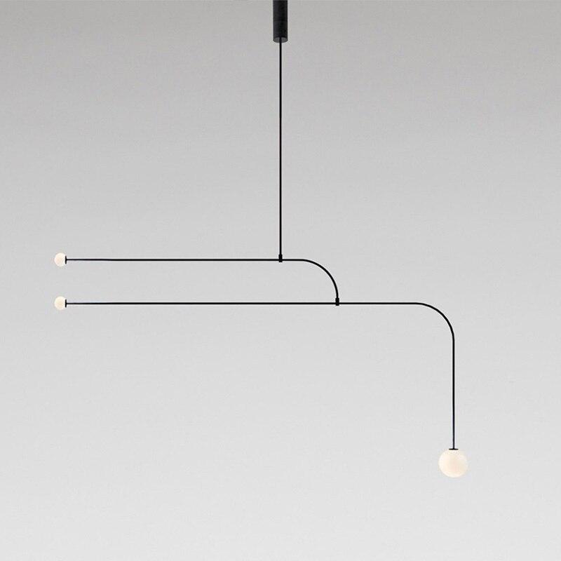 Nero tubo lungo lampadario Apparecchio di Disegno metà del secolo decor lustre sospensione loft industrail retro sfere di vetro lampadario - 2