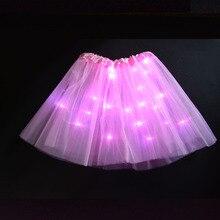 Рождественский детский танцевальный светильник для дня рождения, сетчатая юбка-пачка для вечеринки, пикантный светильник, Бальное светящееся нарядное платье-пачка вечерние, новогодние