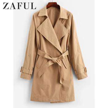 ZAFUL AutumnTurn Down Collar Pockets Belted Trench Coat For Women Wide-Waisted Long Sleeve Solid Color Belted Trench фото