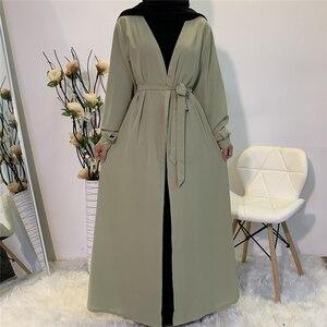 Open Abaya Muslim Women Kimono Long Maxi Dress Islamic Robe Turkish Kaftan Cardigan Arab Burquas Party Gown Middle East Caftan