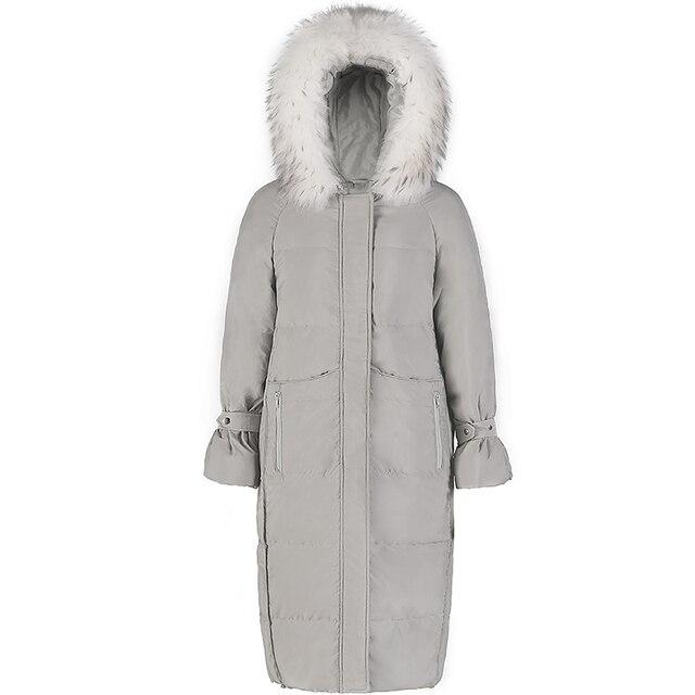 2019 hiver femmes blanc canard doudoune manteau mode lâche réel fourrure col Long pardessus femme chaud épais à capuche manteau