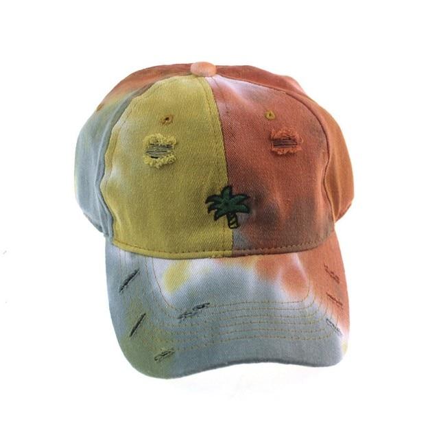 Фото хлопковая кепка с вышивкой и принтом tie dye женские бейсболки