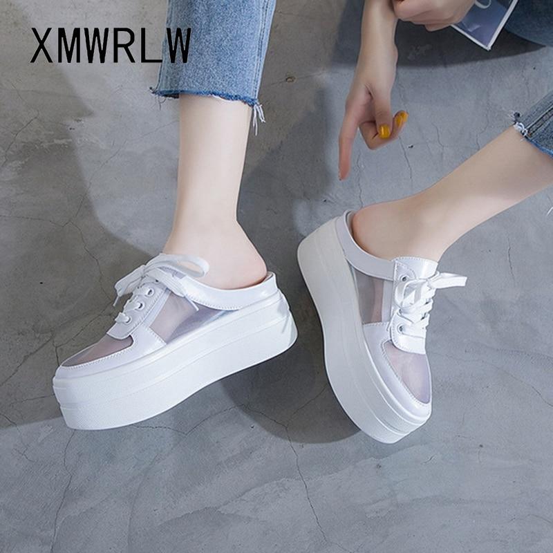 XMWRLW Women's Summer Half Shoes Breathable Mesh Women High Heels Slippers 2020 Summer Female Platform Shoes Women Slippers