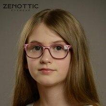 Gafas con montura de acetato ZENOTTIC para niños y niñas, lentes ópticas para miopía, Anti rayos azules, graduadas para Miopía