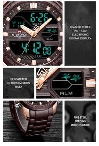 Image 3 - Naviforce relógios masculinos marca de luxo militar à prova dwaterproof água led digital esporte relógio masculino aço inoxidável 9138