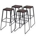 Costway conjunto de 4 industrial 30 industrial stool barra tamborete pub altura metal quadro elm assento de madeira sem encosto
