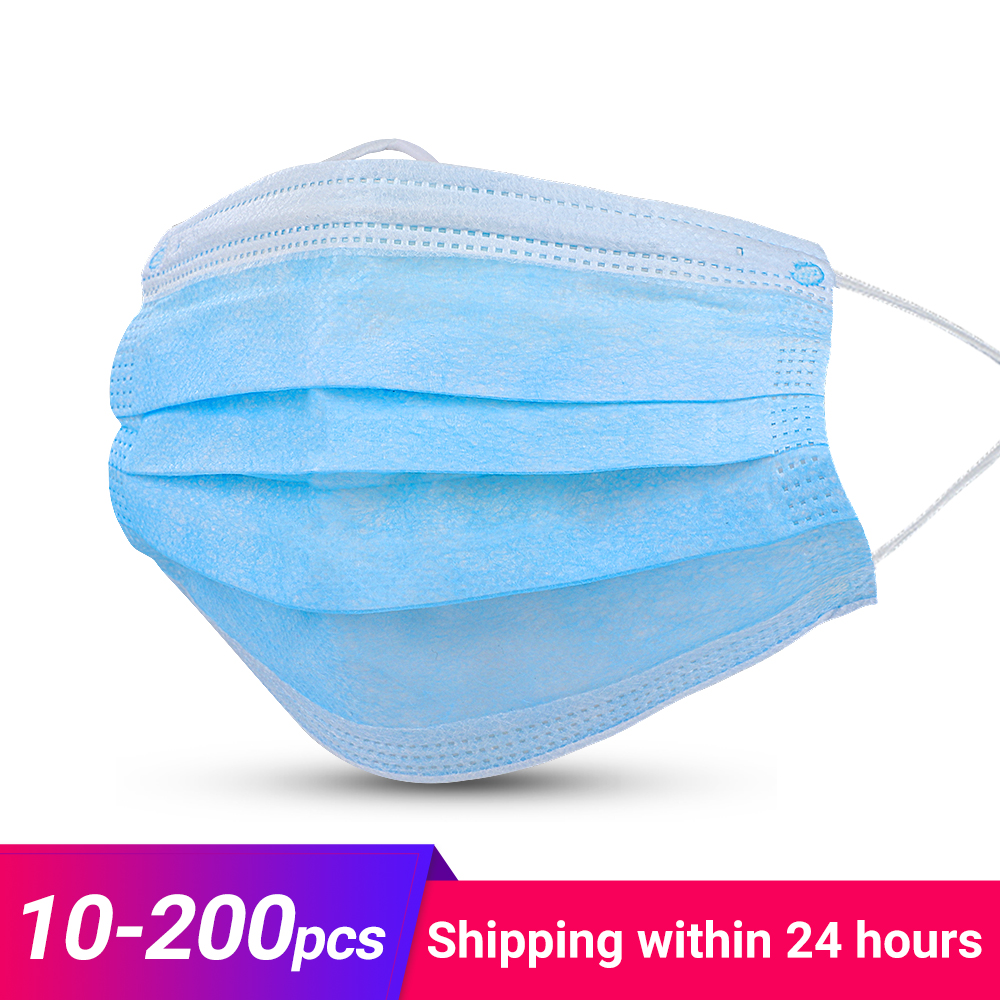 10/20/50/100/200 Pcs 3 Laye Dust Mask Protection Masks Disposable Face Masks Elastic Earloops Anti virus Gas Mask Filter title=