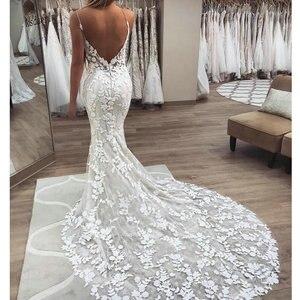 Image 2 - 2020 Berta mermaid Wedding Dresses 3D Floral Applique Lace backless Sweep tulle Train Plus Size boho beach Bridal Gowns Robe De