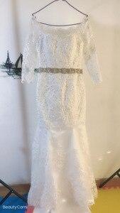 Image 3 - Fansmile Mới Đầm Vestido De Noiva Ren Châu Phi Nàng Tiên Cá Váy Cưới 2020 Tùy Chỉnh Plus Kích Thước Ngọc Trai Cô Dâu Áo Cưới FSM 495M