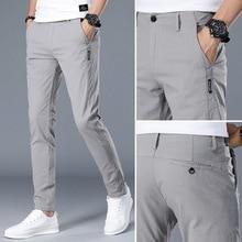2020 חדש מכנסי קזואל גברים כותנה Slim Fit אופנה ישר מלא אורך מכנסיים זכר בגדים בתוספת גודל 28 38 pantalones hombre