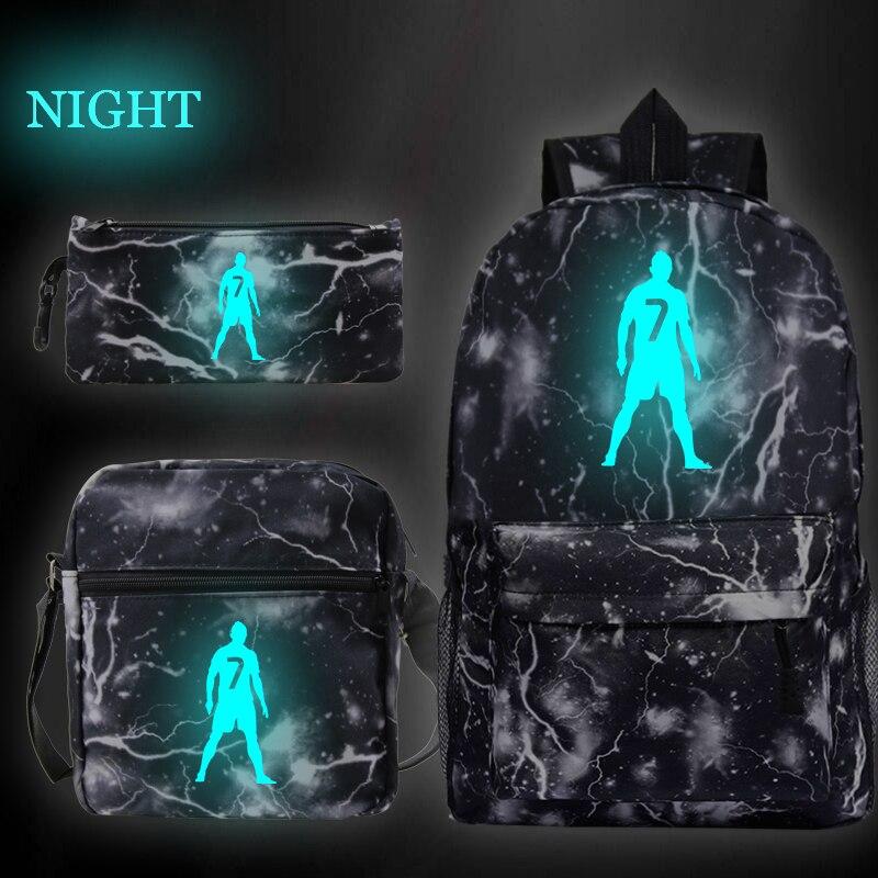 3pcs/set Cristiano Ronaldo CR7 Backpack Middle Size Shouder Bag Casual Pencil Case Bagpack Bookbag